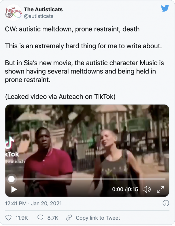 Screen shot from The Autisticats Twitter post showing a video clip from Sia's movie Music