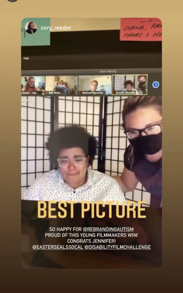 """A screenshot of an Instagram story where a brown skinned woman is crying with happiness over a Zoom call. Her friend is consoling her. The text says """"Best Picture"""""""