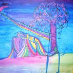 Pic ID: Acrylic painting in all pastel colors, of a woman sleeping by a tree, with a crescent moon above and a stream of colors and music notes coming down from the moon, then wrapping around a tree which then wraps around the woman sleeping.